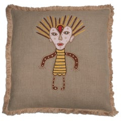 Gunda Hand Embroidered Beige Linen Pillow Cover