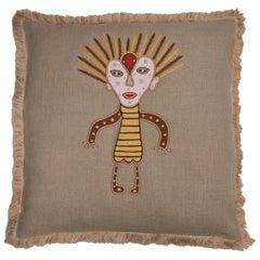 Gunda Hand Embroidered Beige Linen Pillow Cover