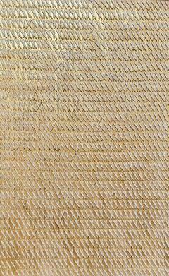 Golden X's by Gunda Jastorff - Contemporary Geometric Textured Painting