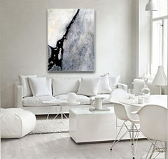 Grey, White, Black Textured Abstract Landscape painting Contemporary Minimal Art