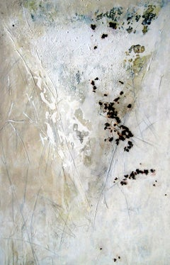 Meeting by Gunda Jastorf - Contemporary white Landscape painting Brown and Green