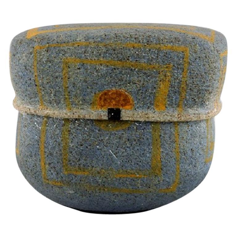 Gunhild Aaberg, Danish Contemporary Ceramist, Unique Lidded Jar in Stoneware