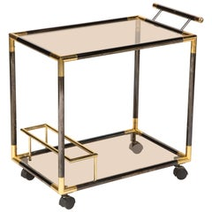Gunmetal and Brass Bar Cart, Italy, 1980s
