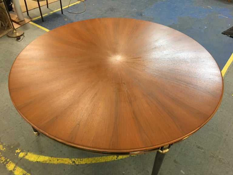 Gunmetal and Brass Dining Table in the Style of Maison Jansen For Sale 3