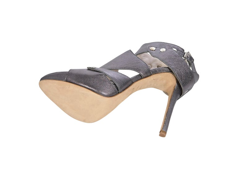 Christian Dior Gunmetal Leather Open-Toe Heels In Good Condition For Sale In New York, NY