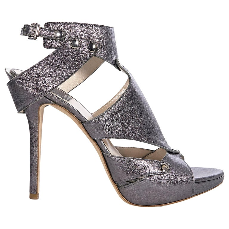 Christian Dior Gunmetal Leather Open-Toe Heels For Sale