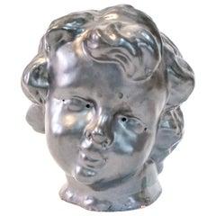 Gunmetal Glaze Terracotta Cherub Head