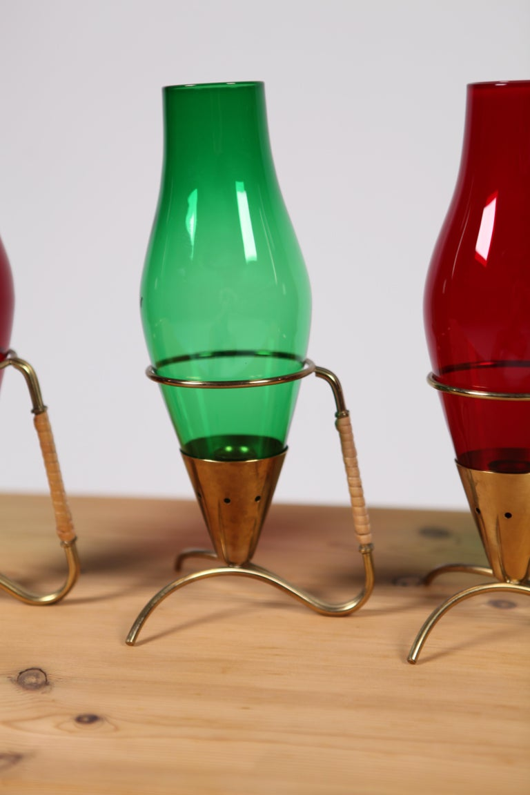 Mid-20th Century Gunnar Ander, 4 Candleholder Ystad Metal, Sweden, 1950s For Sale