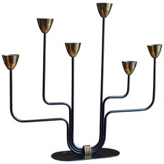 Gunnar Ander, Candelabra, for Ystad Metall, Brass, Painted Metal, Sweden, 1950s