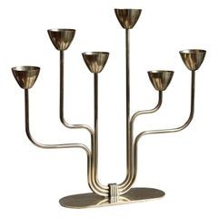 Gunnar Ander, Candelabra, for Ystad Metall, Brass, Sweden, 1950s