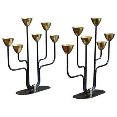 Gunnar Ander, Candelabras, for Ystad Metall, Brass, Painted Metal, Sweden, 1950s
