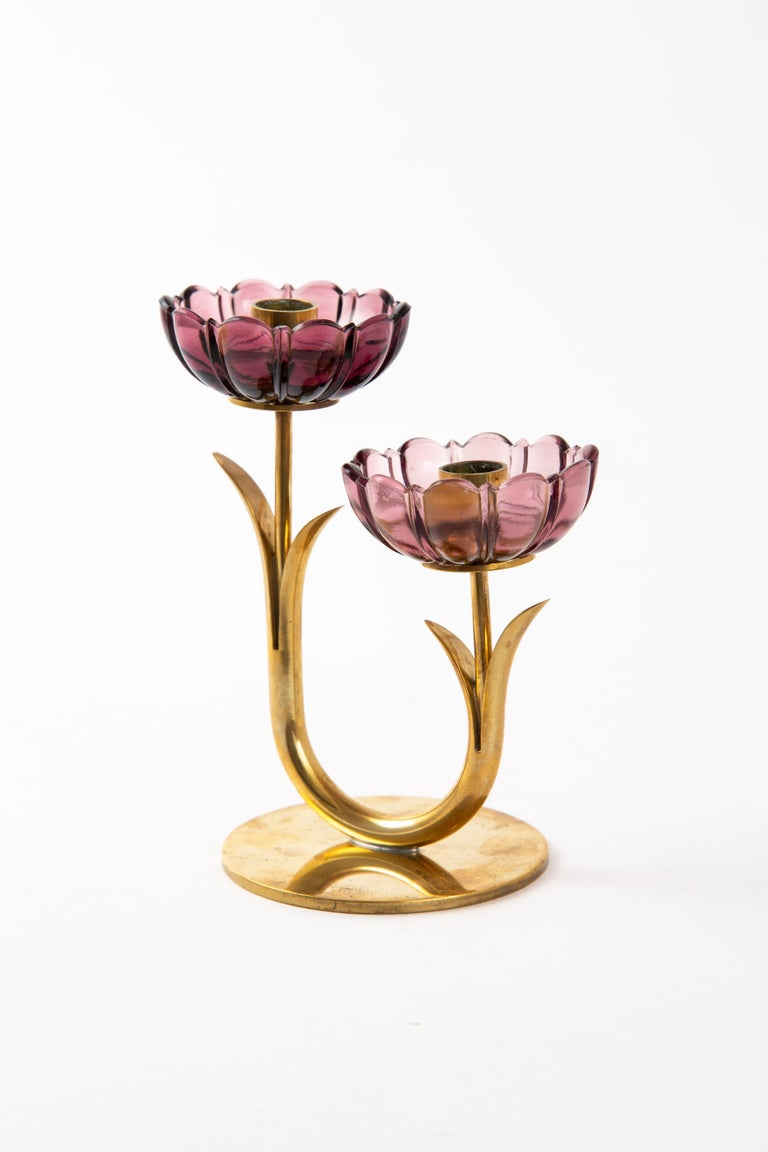 20th Century Gunnar Ander Candleholder for Ystad Metal with Flowers in Brass For Sale