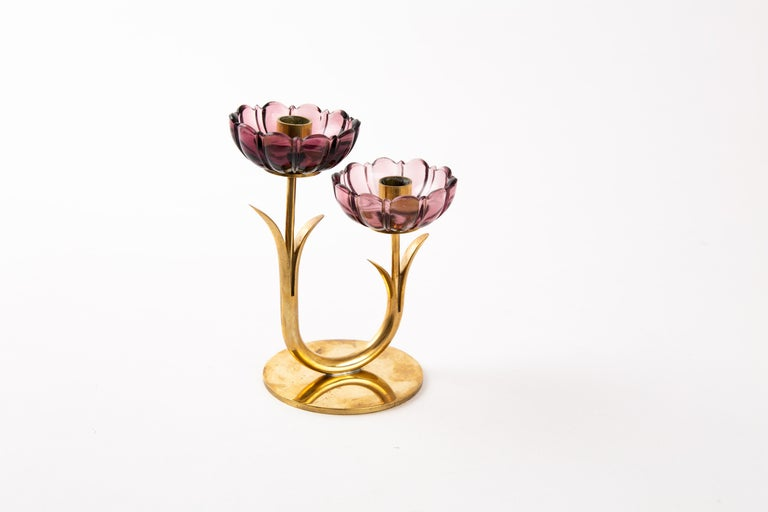 Gunnar Ander Candleholder for Ystad Metal with Flowers in Brass For Sale 2