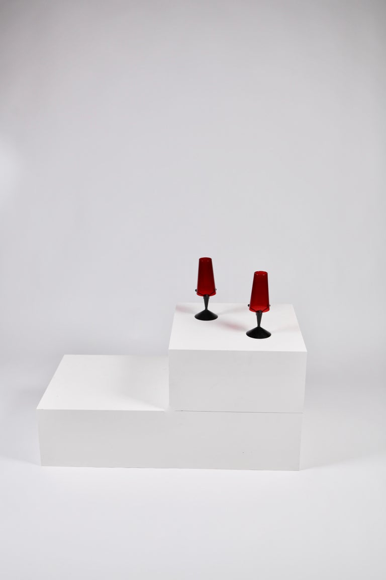 Gunnar Ander, Candleholder in Black Metal and Glass, Sweden, 1950s In Good Condition For Sale In , DE