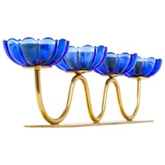 Gunnar Ander Candleholders Sweden for Ystad Metall, Blue Flower with Brass