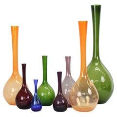 Gunnar Ander for Elme Glasbruk, Group of 8 Glass Vases, Sweden, 1960s