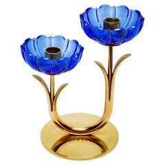 Gunnar Ander for Ystad Metall, Brass and Blue Glass Candlestick