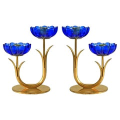 Gunnar Ander for Ystad Metall, Pair of Brass and Blue Glass Candlestick