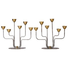 Gunnar Ander, Pair of Candelabras, for Ystad Metall, Brass, Metal, Sweden, 1950s