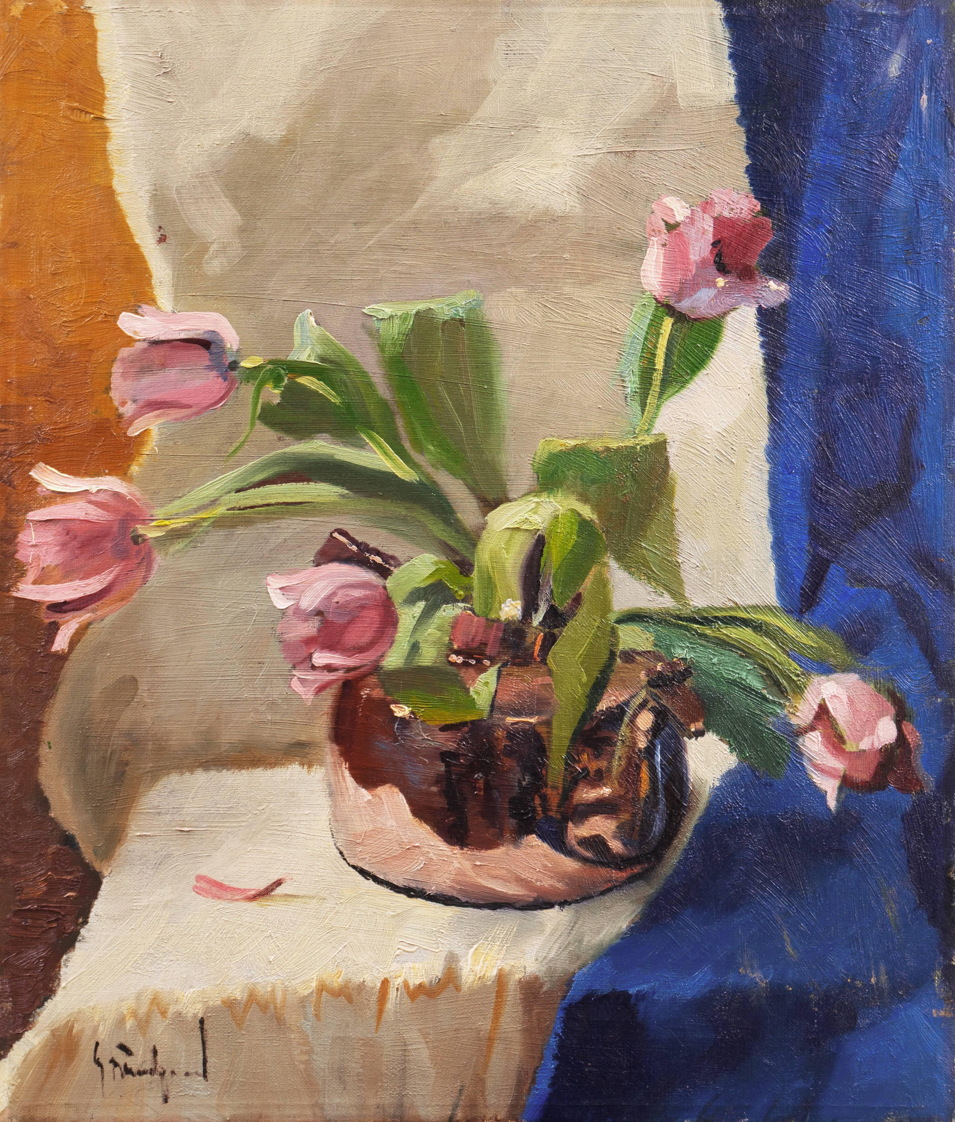 'Pink Tulips in a Copper Kettle' Mid-century Danish Impressionist Oil Still Life
