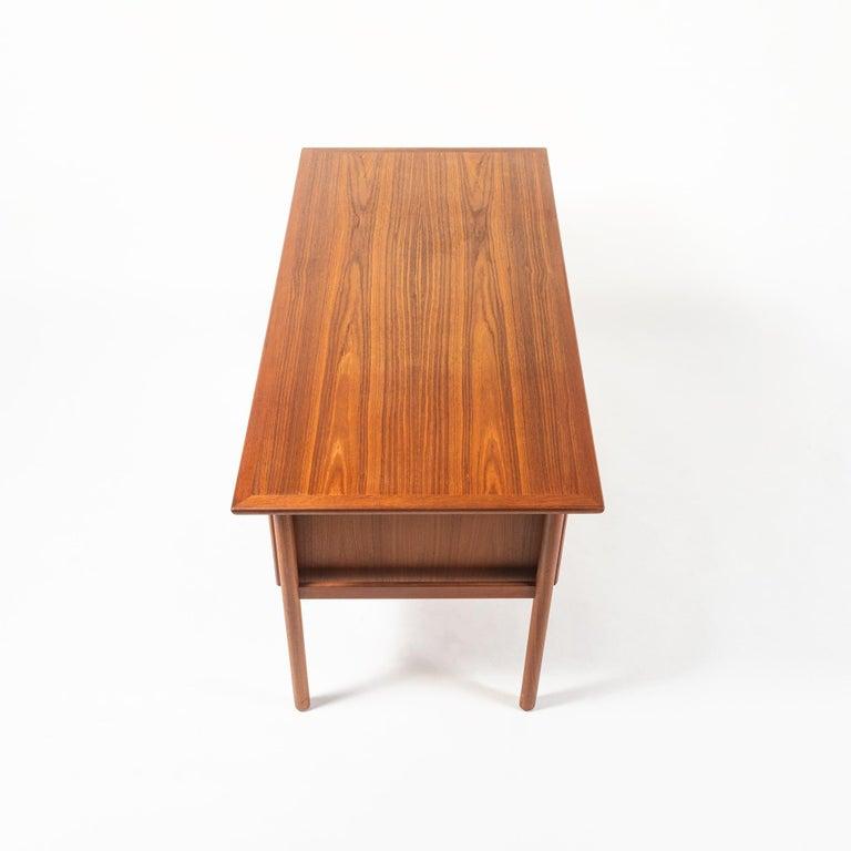 Danish Gunnar Nielsen Tibergaard Teak Free Standing Executive Desk with 6 Drawers For Sale