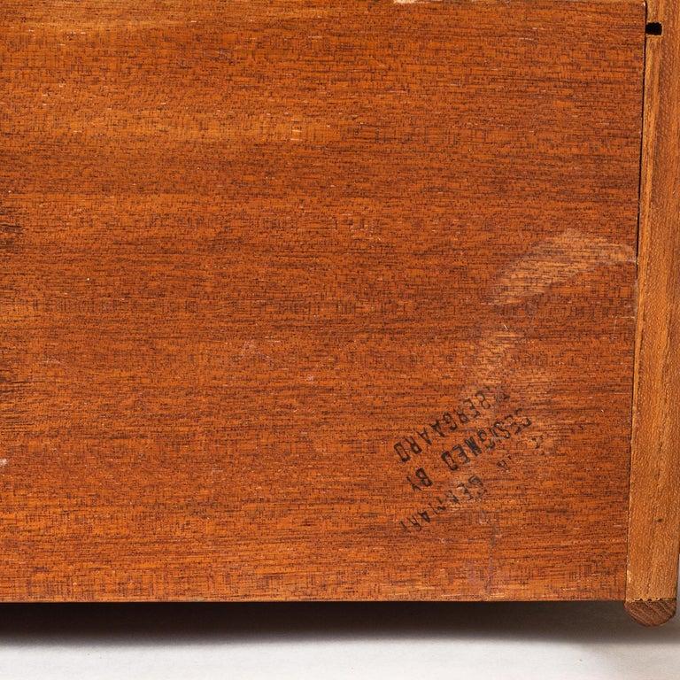 Brass Gunnar Nielsen Tibergaard Teak Free Standing Executive Desk with 6 Drawers For Sale