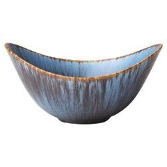 "Gunnar Nylund ""ARO"" Ceramic Stoneware Bowl Blue Brown for Rörstrand, 1950s"