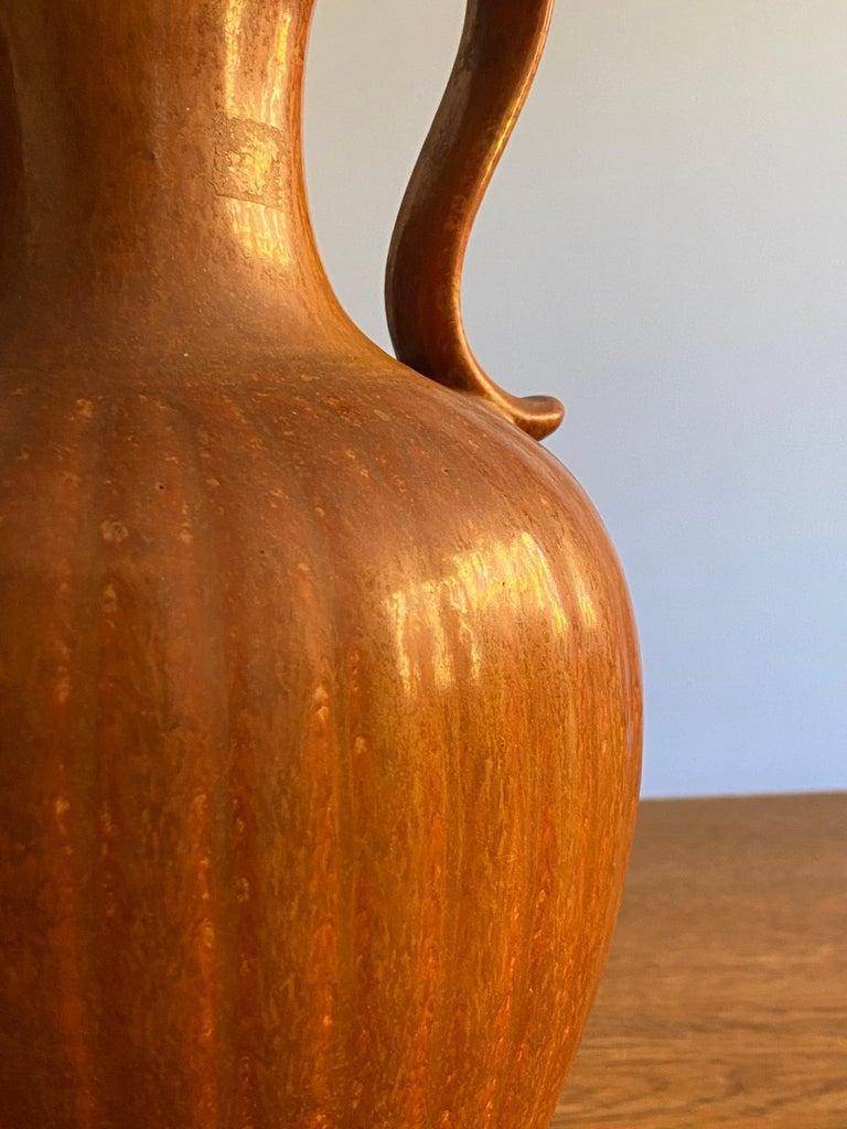 Gunnar Nylund, Brown Stoneware Pitcher, Rörstand, Sweden, 1940s For Sale 2