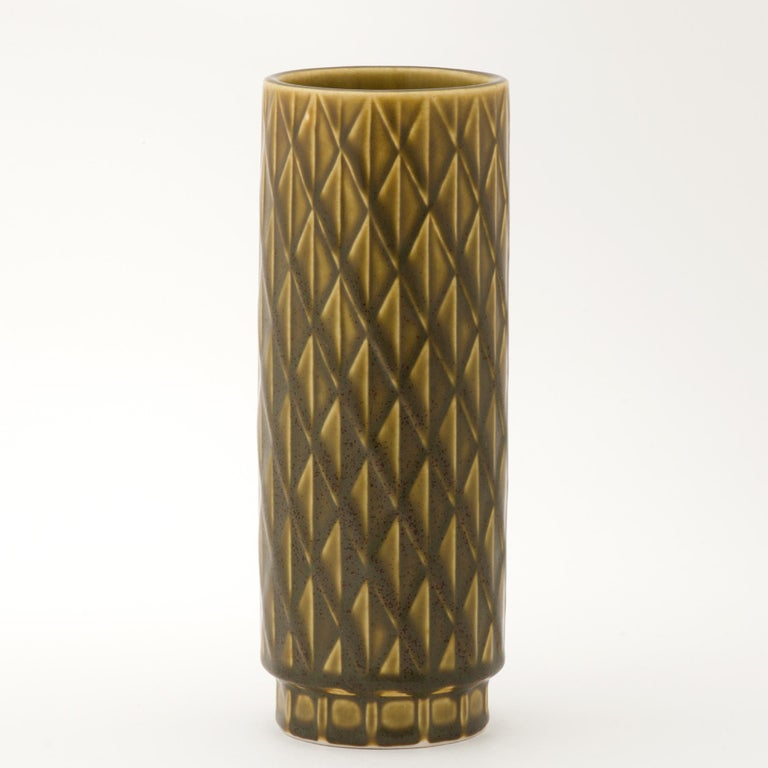 Gunnar Nylund ceramic vase for Rörstrand Sweden 1960s Nice olive green. Marked on the bottom.