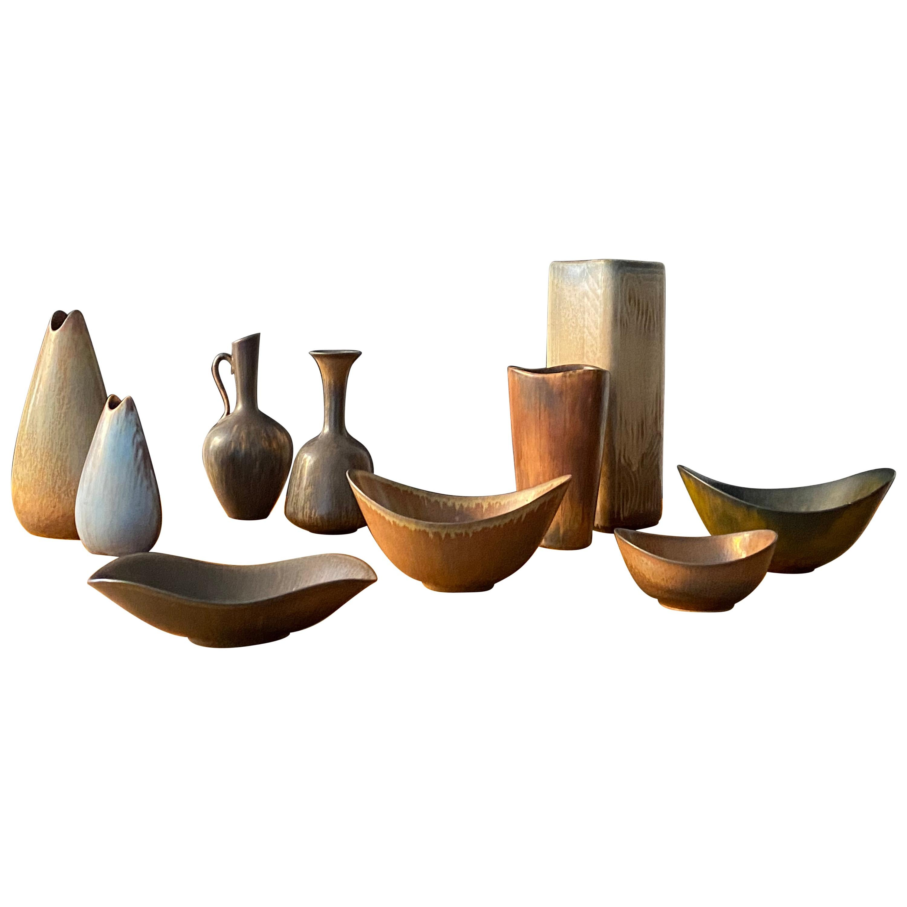 Gunnar Nylund, Collection of Stoneware Vases and Bowls, Rörstand, Sweden, 1940s