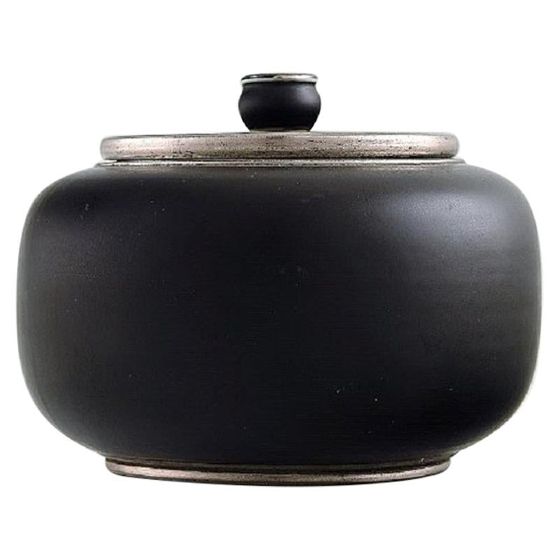 Gunnar Nylund for ALP Lidköping, Art Deco Ceramic Lidded Jar with Silver Inlay
