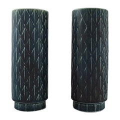 Gunnar Nylund for Rörstrand, a Pair of Eterna Vases with Geometric Pattern