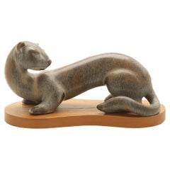 """Gunnar Nylund """"Iller"""" Stonewear Weasel with Stand for Rörstrand Sweden 1960's"""