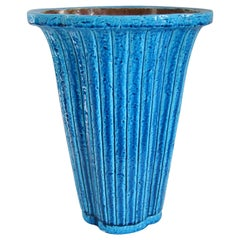 Gunnar Nylund Midcentury Fluted Blue Glazed Vase