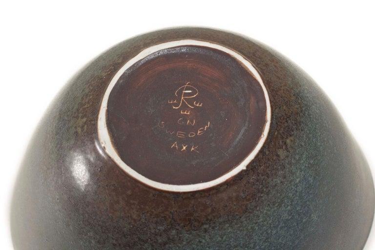 Gunnar Nylund Rörstrand Large AXK Bowl Jade Green Hares Fur Glaze Sweden 1950 For Sale 6