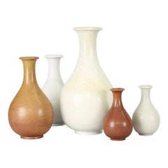 Gunnar Nylund Rörstrand Sweden, Group of Five Mid 20th Century Ceramic Vases
