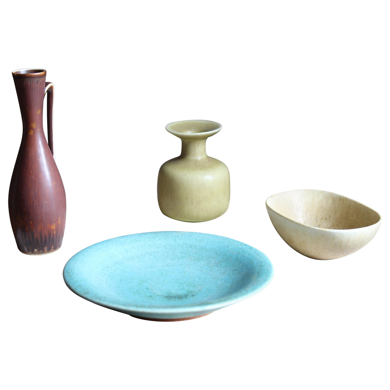 Gunnar Nylund, Saxbo, Vase, Bowl, Dish, Pitcher, Glazed Stoneware, Sweden, 1950s