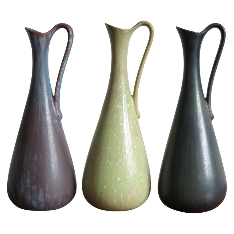 Gunnar Nylund Scandinavian Midcentury Set Stoneware Vases for Rörstrand, 1950s For Sale