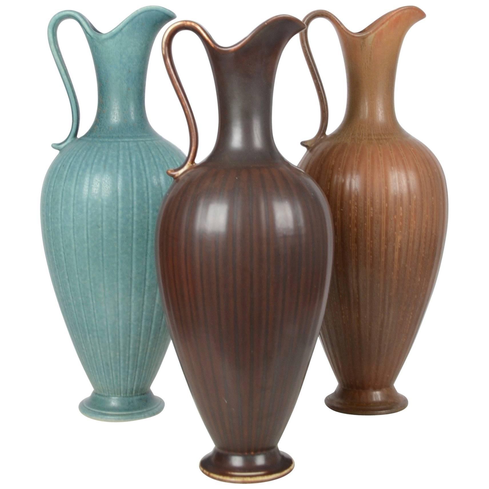 Gunnar Nylund, Set with Three Vases / Pitchers, Ceramic, Rörstrand, Sweden