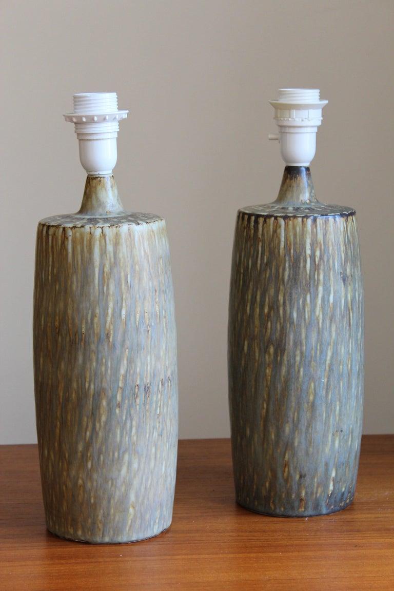 European Gunnar Nylund, Sizable Table Lamps, Glazed Stoneware, Rörstand, Sweden, 1950s