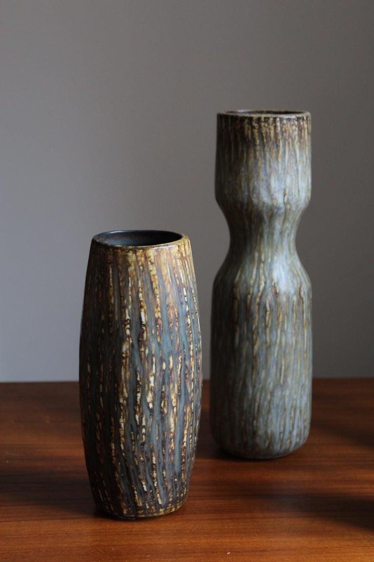 Mid-Century Modern Gunnar Nylund, Sizable Vases, Glazed Stoneware, Rörstand, Sweden, 1950s For Sale