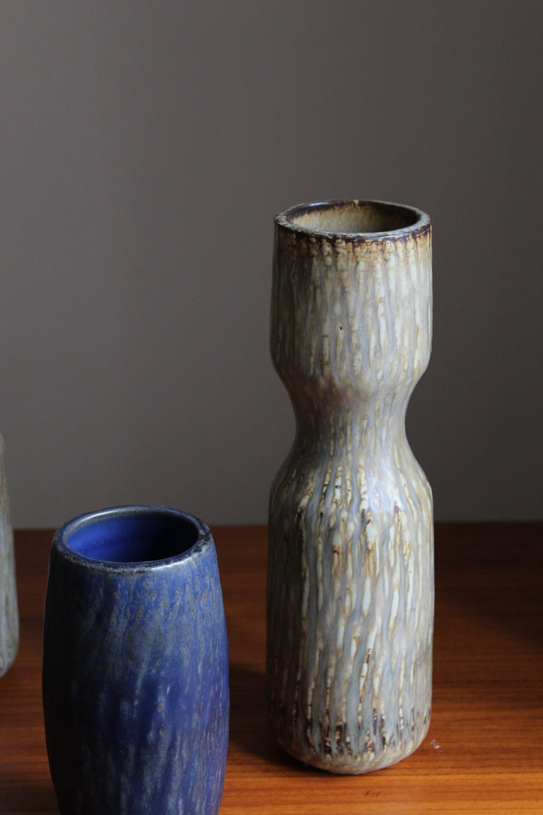Gunnar Nylund, Sizable Vases, Glazed Stoneware, Rörstand, Sweden, 1950s In Good Condition For Sale In West Palm Beach, FL