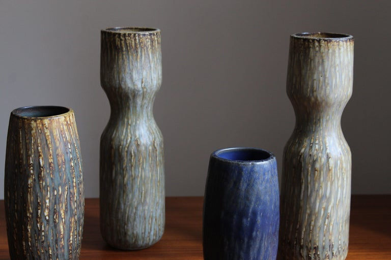 Mid-20th Century Gunnar Nylund, Sizable Vases, Glazed Stoneware, Rörstand, Sweden, 1950s For Sale