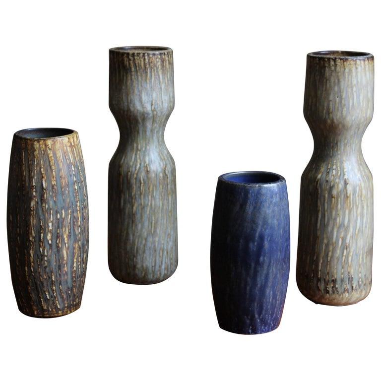 Gunnar Nylund, Sizable Vases, Glazed Stoneware, Rörstand, Sweden, 1950s For Sale