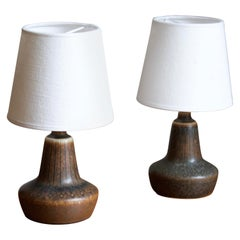 Gunnar Nylund, Small Table Lamps, Glazed Stoneware, Linen Rörstand, Sweden 1950s