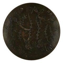 Gunnar Nylund, Sweden, Round Dish in Bronze Decorated with Underwater Scene