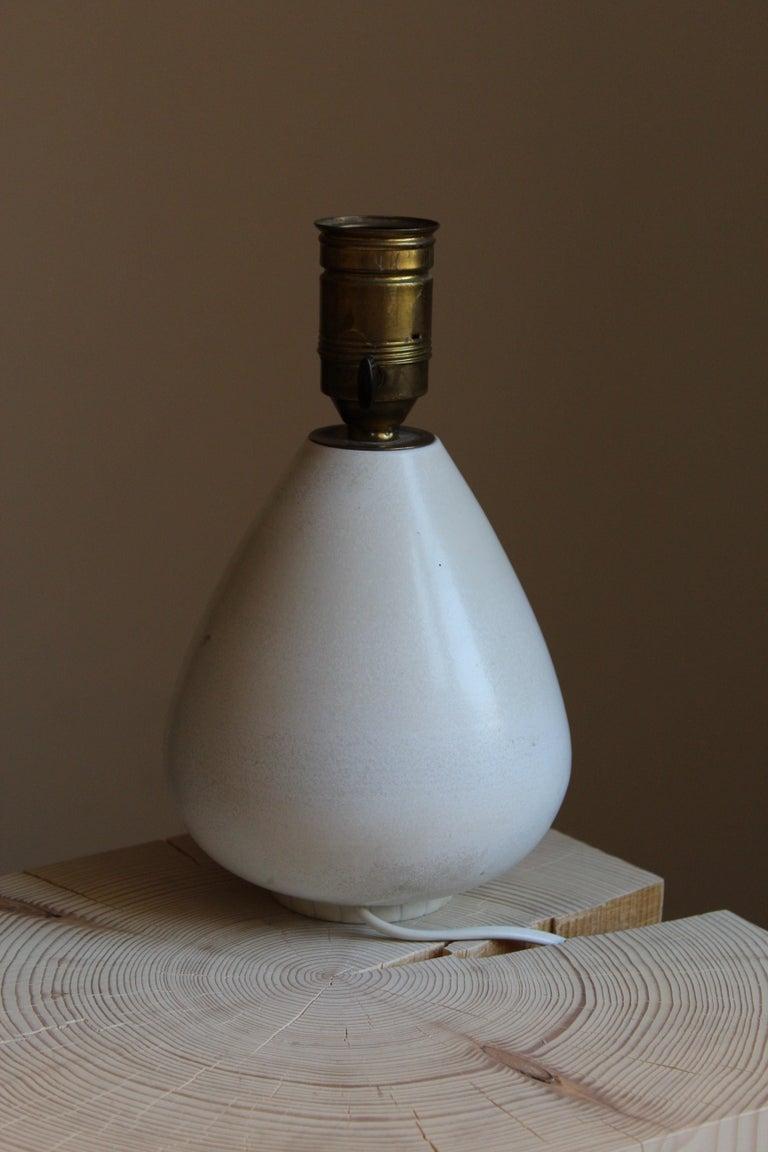 European Gunnar Nylund, Table Lamp, Blue-Glazed Stoneware, Rörstand, Sweden, 1940s For Sale