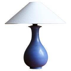 Gunnar Nylund, Table Lamp, Blue Glazed Stoneware, Rörstand, Sweden, 1950s