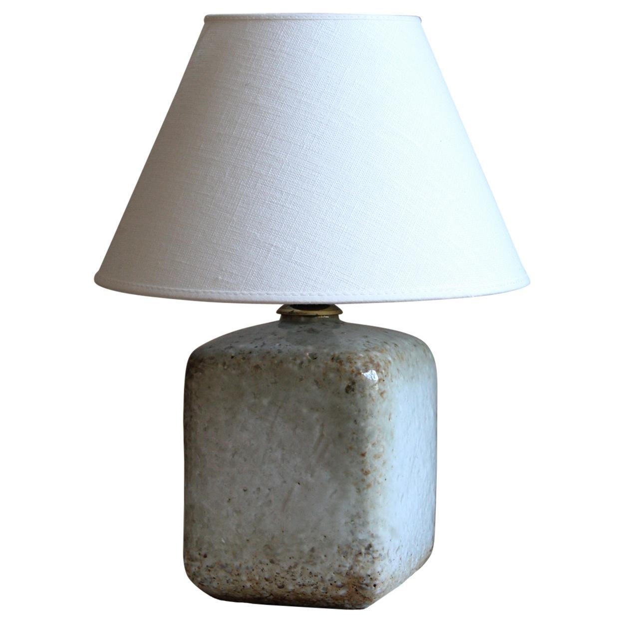Gunnar Nylund, Table Lamp, Glazed Firesand, Rörstand, Linen, Sweden, 1950s