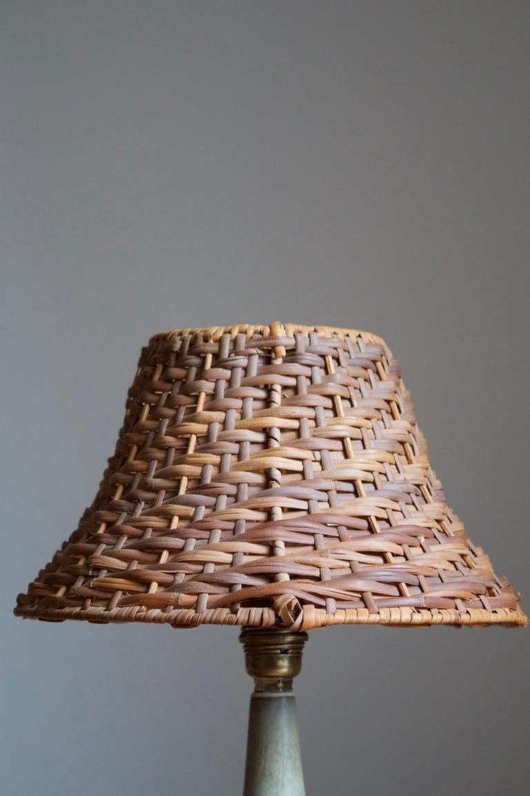 European Gunnar Nylund, Table Lamp, Glazed Stoneware, Rattan Rörstand, Sweden, 1950s